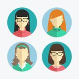 Illustration of flat design Women and girls icons. Stock Image