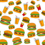 Illustration of flat fast food pattern Stock Photography
