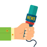 Illustration of a flat icon hand holding a microphone, reporter of news interviews, press conference Stock Image