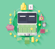 Illustration flat icons of financial and business items. Design elements. Illustration with long shadows Stock Photos