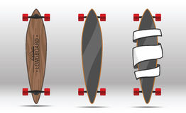 Illustration of flat longboards . Vector illustration of longboards. Illustration of flat longboards  on white background. Flat colorful longboards Royalty Free Stock Image