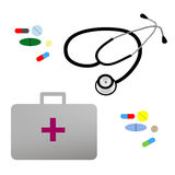 Illustration flat stethoscope, first aid kit and. Medications Royalty Free Stock Photo