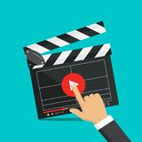 Clapperboard isolated on background. Video movie clapper. Illustration in flat style.Clapperboard isolated on background. Video movie clapper equipment, icon Royalty Free Stock Images