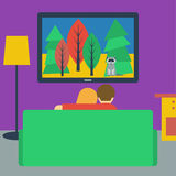 Illustration in a flat style with couple watching television sit Royalty Free Stock Photos
