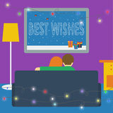 Illustration in a flat style with couple watching television sit Stock Photos