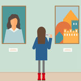 Illustration in a flat style with a girl photographing the paint Stock Photo