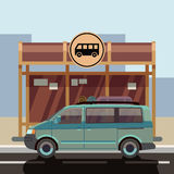 Illustration of flat style minibus on bus stop. Passenger transport for travel and trip vector Royalty Free Stock Photos