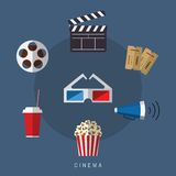 Illustration of flat style movie and film icon set. Illustration of flat style movie and film icon Royalty Free Stock Photos