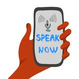 Illustration in flat style, voice recognition concept stock illustration