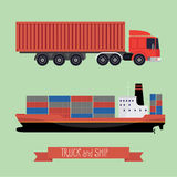 Illustration of a flat truck and ship. The truck side and the side of the ship. Both types of transport containers. Background light Stock Photos