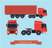 Illustration of a flat truck. Truck side, front, and with the container. Background light Royalty Free Stock Photos
