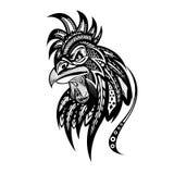 Illustration fleurie de tête de coq Image libre de droits