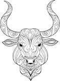 Illustration fleurie tirée par la main de tête de taureau de griffonnage illustration stock