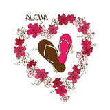 Illustration with flip flops and lei flowers garland Royalty Free Stock Images