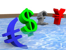 Illustration of floating currencies Stock Image