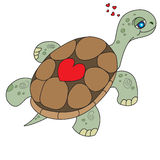 Illustration of the floating turtle with heart on her armor Royalty Free Stock Photography