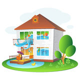 Illustration with flooded home for companies insuring the property Royalty Free Stock Photography