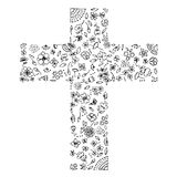 Illustration of flora and flowers by hand drawn line art with Black and White colours in a cross shape as Christianity. Stock Image
