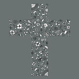 Illustration of flora and flowers by hand drawn line art with grey background colours in a cross shape as Christianity. Royalty Free Stock Images