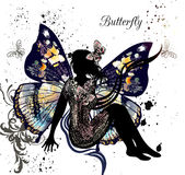 Illustration with floral fairy sit in environment of butterflies Stock Photo