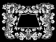 Illustration of floral frame. With black in background Royalty Free Stock Images