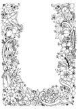 Illustration of floral frame zentangle, doodling. Zenart, doodle, flowers, butterflies, delicate, beautiful. Adult Stock Photography