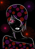 Illustration of floral girl Stock Images