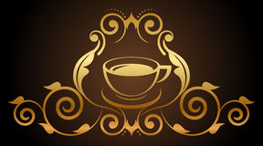 Illustration of floral gold coffee icon. Vector illustration of floral gold coffee icon Royalty Free Stock Photo