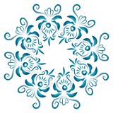 Illustration with floral ornament in blue tones. Russian folk craft, style Gzhel Royalty Free Stock Photos