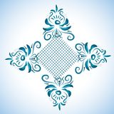 Illustration with floral ornament in blue tones. Russian folk craft, style GzhelΠStock Photo