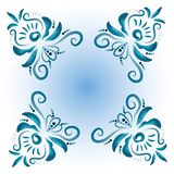 Illustration with floral ornament in blue tones. Stock Images