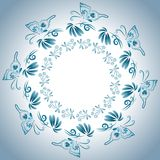 Illustration with floral ornament in blue tones.ΠStock Photography