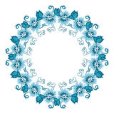 Illustration with floral ornament in blue tones. Russian folk craft, style Gzhel Royalty Free Stock Photo