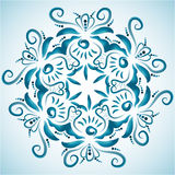 Illustration with floral ornament in blue tones. Russian folk craft, style Gzhel ΠRoyalty Free Stock Images