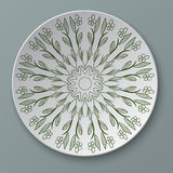 Illustration floral ornament plate  Stock Photo