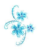 Illustration of a floral pattern in blue with leaves and flowers Stock Image