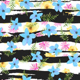Illustration of floral seamless.Colorful flowers with strips on Stock Photos