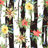 Illustration of floral seamless.Colorful flowers with strips Stock Photos