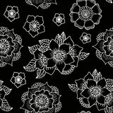 Illustration of floral seamless. White  flowers on a bla. Vector illustration of floral seamless. White  flowers on a black background Royalty Free Stock Photography