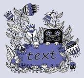 Illustration florale avec un cadre pour le texte et un chat illustration libre de droits