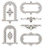 Illustration florale de conception d'art déco d'autocollants de frontières de cadres de coins d'éléments d'ornements rétro illustration stock
