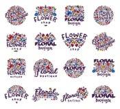 Illustration florale de vecteur d'insigne de boutique Photographie stock