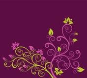 Illustration florale verte et pourprée de vecteur Photographie stock