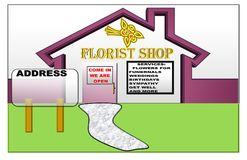 Illustration of a Florist Shop with space for the address stock illustration