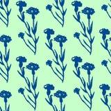 Illustration of flower, cornflower. Seamless pattern. Stock Image