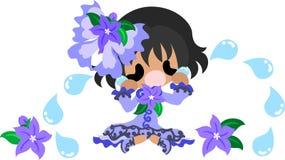 The illustration of flower girl. A cute little crying girl and the ribbon of flower stock illustration
