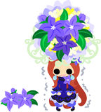 The illustration of flower girl. A cute little girl in sad and the big crown of flower vector illustration