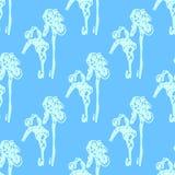 Illustration of flower, iris. Seamless pattern. Royalty Free Stock Photo