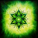 Illustration Flower Mandala on a green background oil painting Royalty Free Stock Photography
