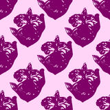 Illustration of flower, orchid. Seamless pattern. Royalty Free Stock Photography